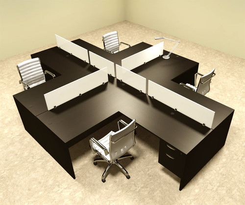 Four Person L Shaped Divider Office Workstation Desk Set, #OT-SUL-FP44
