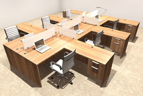 Six Person L Shaped Divider Office Workstation Desk Set, #OT-SUL-FP45