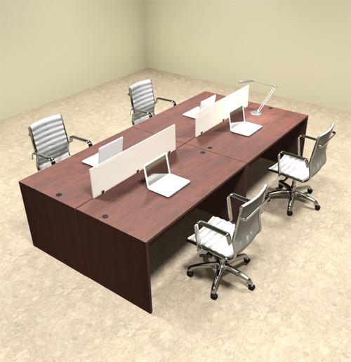 Four Person Modern Divider Office Workstation Desk Set, #OT-SUL-FP6