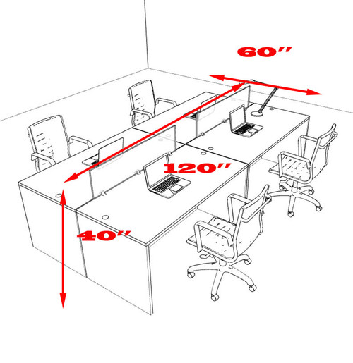 Four Person Modern Divider Office Workstation Desk Set, #OT-SUL-FP8