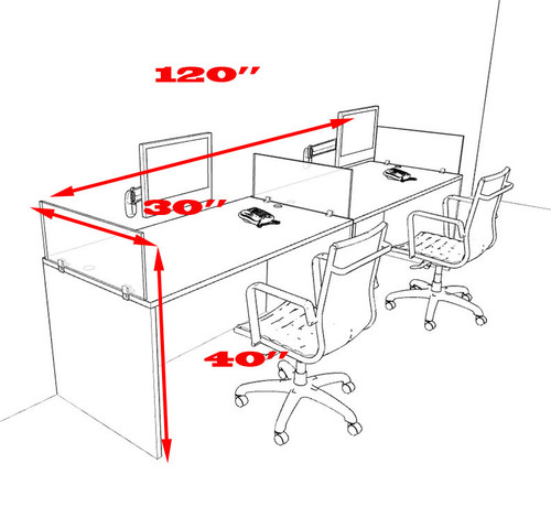 Two Person Divider Modern Office Workstation Desk Set, #OT-SUL-SP1