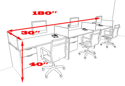 Three Person Divider Modern Office Workstation Desk Set, #OT-SUL-SP25
