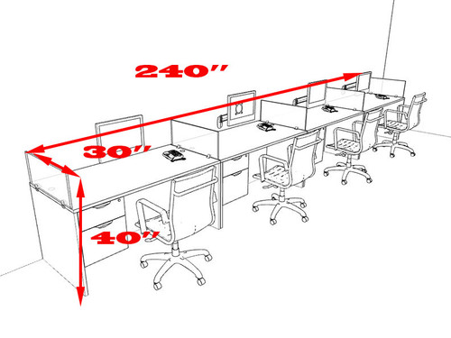 Four Person Divider Modern Office Workstation Desk Set, #OT-SUL-SP30