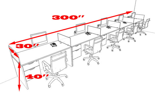 Five Person Divider Modern Office Workstation Desk Set, #OT-SUL-SP33