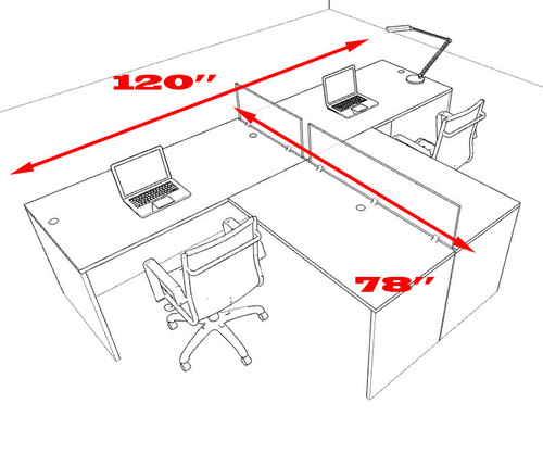 Two Person L Shaped Divider Office Workstation Desk Set, #OT-SUL-SP42