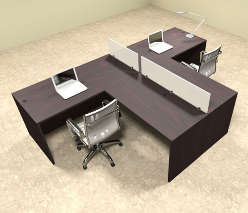 Two Person L Shaped Divider Office Workstation Desk Set, #OT-SUL-SP43