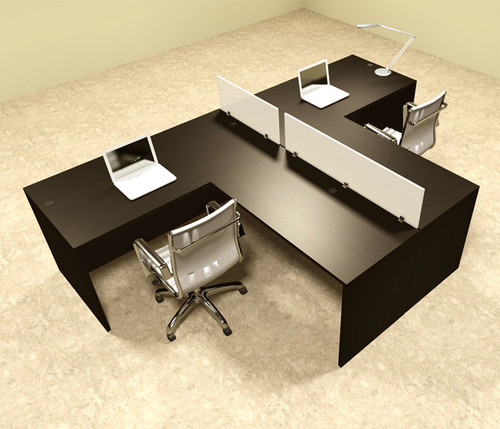 Two Person L Shaped Divider Office Workstation Desk Set, #OT-SUL-SP44