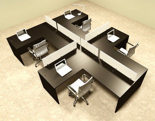 Four Person L Shaped Divider Office Workstation Desk Set, #OT-SUL-SP48