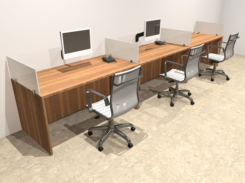 Three Person Divider Modern Office Workstation Desk Set, #OT-SUL-SP5
