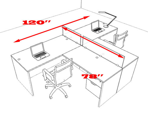 Two Person L Shaped Divider Office Workstation Desk Set, #OT-SUL-SP54