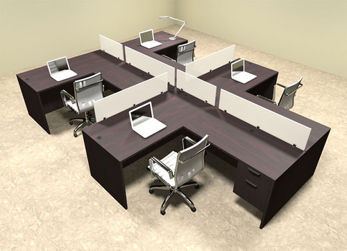 Four Person L Shaped Divider Office Workstation Desk Set, #OT-SUL-SP59