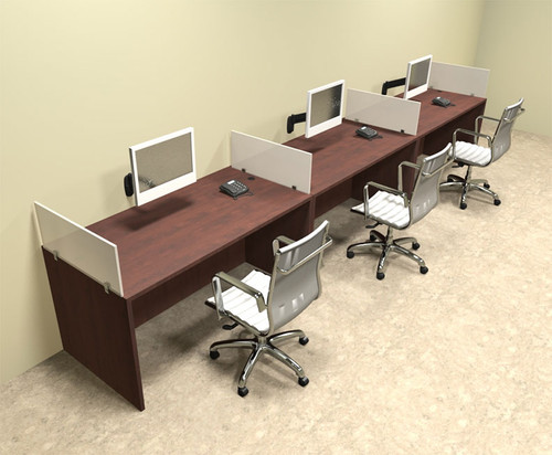 Three Person Divider Modern Office Workstation Desk Set, #OT-SUL-SP6