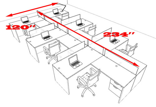 Six Person L Shaped Divider Office Workstation Desk Set, #OT-SUL-SP62