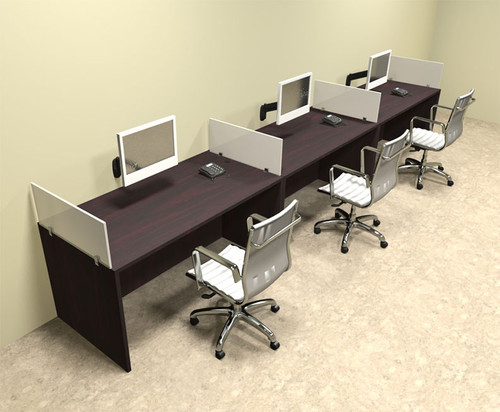 Three Person Divider Modern Office Workstation Desk Set, #OT-SUL-SP7