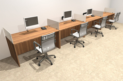 Four Person Divider Modern Office Workstation Desk Set, #OT-SUL-SP9