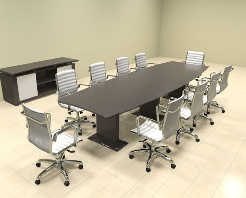 Modern Contemporary Boat Shaped 12' Feet Conference Table, #MT-STE-C12