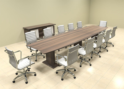 Modern Contemporary Boat Shaped 14' Feet Conference Table, #MT-STE-C14