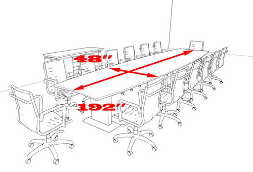 Modern Contemporary Boat Shaped 16' Feet Conference Table, #MT-STE-C16