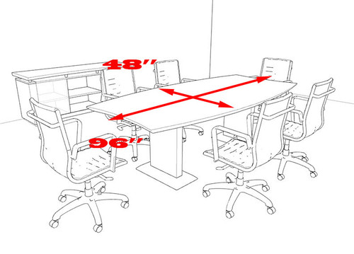 Modern Contemporary Boat Shaped 8' Feet Conference Table, #MT-STE-C4