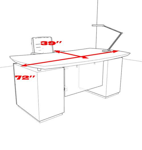 3pc Modern Contemporary Executive Office Desk, #MT-STE-D1