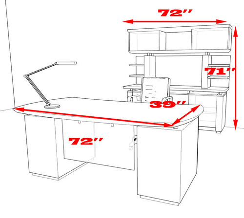 5pc Modern Contemporary Executive Office Desk Set, #MT-STE-D8