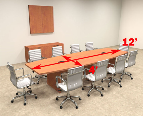 Modern Boat Shaped 12' Feet Conference Table, #OF-CON-C123