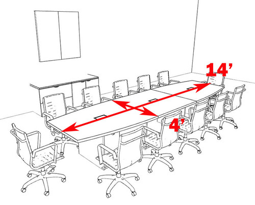Modern Boat Shaped 14' Feet Conference Table, #OF-CON-C124