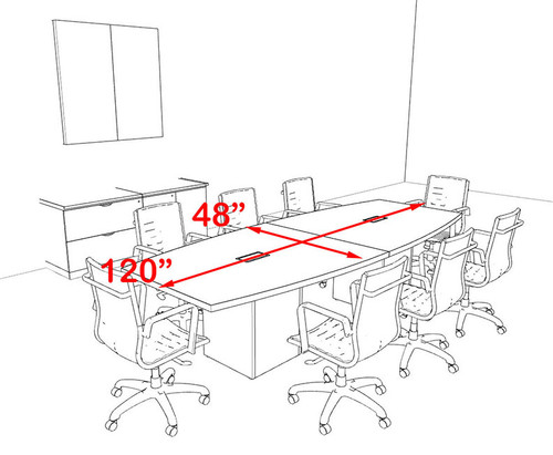Modern Boat Shaped Cube Leg 10' Feet Conference Table, #OF-CON-CQ17