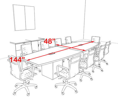 Modern Boat Shaped Cube Leg 12' Feet Conference Table, #OF-CON-CQ23