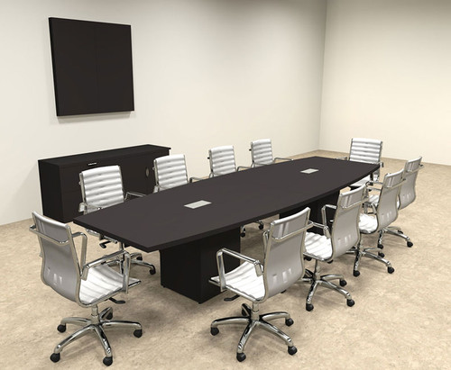Modern Boat Shaped Cube Leg 12' Feet Conference Table, #OF-CON-CQ24