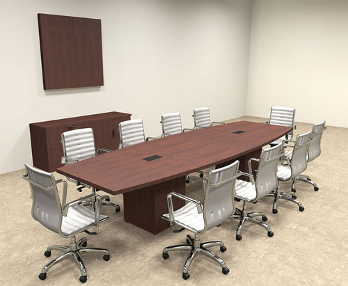 Modern Boat Shaped Cube Leg Feet Conference Table OFCONCQ - 12 foot conference room table