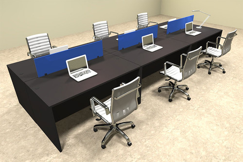 Six Person Modern Blue Divider Office Workstation Desk Set, #OT-SUL-FPB12