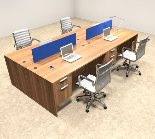 Four Person Modern Blue Divider Office Workstation Desk Set, #OT-SUL-FPB17