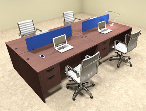 Four Person Modern Blue Divider Office Workstation Desk Set, #OT-SUL-FPB18