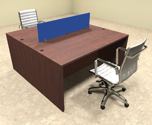 Two Person Modern Blue Divider Office Workstation Desk Set, #OT-SUL-FPB2