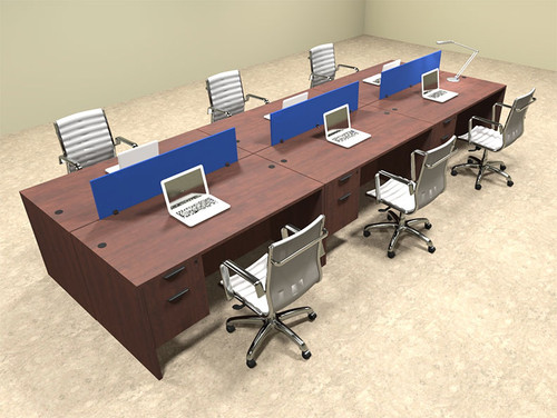 Six Person Modern Blue Divider Office Workstation Desk Set, #OT-SUL-FPB22