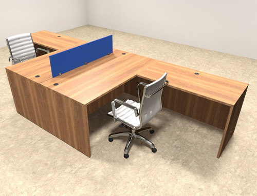 Two Person Blue Divider Office Workstation Desk Set, #OT SUL FPB25 ...