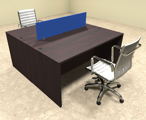 Two Person Modern Blue Divider Office Workstation Desk Set, #OT-SUL-FPB3