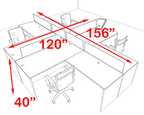 Four Person Blue Divider Office Workstation Desk Set, #OT-SUL-FPB32
