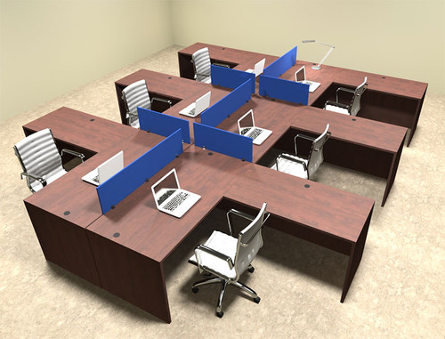 Six Person Blue Divider Office Workstation Desk Set, #OT-SUL-FPB34