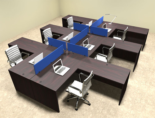 Six Person Blue Divider Office Workstation Desk Set, #OT-SUL-FPB35