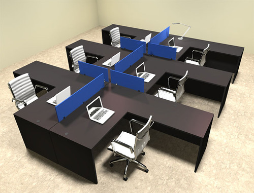 Six Person Blue Divider Office Workstation Desk Set, #OT-SUL-FPB36