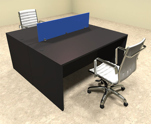 Two Person Modern Blue Divider Office Workstation Desk Set, #OT-SUL-FPB4