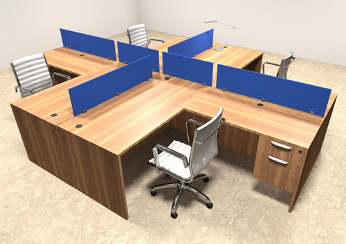 Four Person Blue Divider Office Workstation Desk Set, #OT-SUL-FPB41