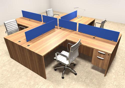 office workstation desks. Four Person Blue Divider Office Workstation Desk Set, #OT-SUL-FPB41 Desks