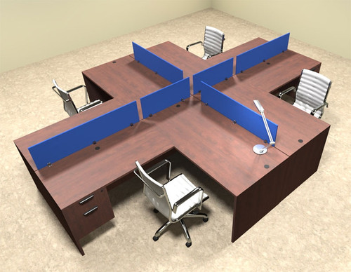 Four Person Blue Divider Office Workstation Desk Set, #OT-SUL-FPB42