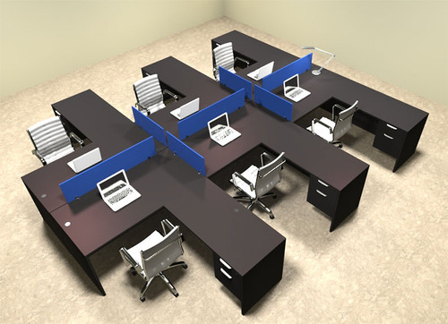 Six Person Blue Divider Office Workstation Desk Set, #OT-SUL-FPB48