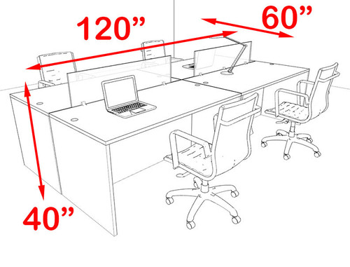 Four Person Modern Blue Divider Office Workstation Desk Set, #OT-SUL-FPB6