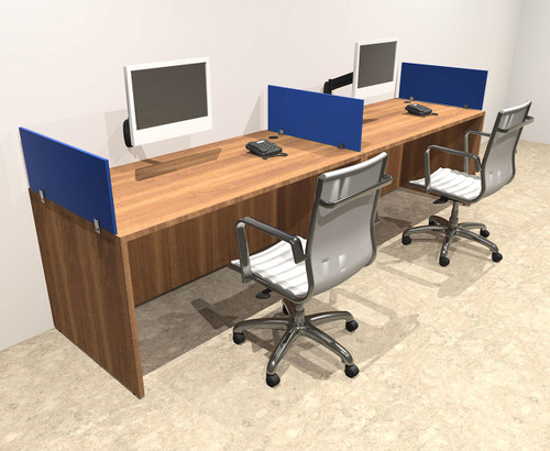 Two Person Blue Divider Office Workstation Desk Set, #OT-SUL-SPB1