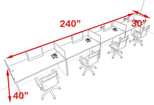 Four Person Blue Divider Office Workstation Desk Set, #OT-SUL-SPB10